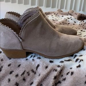 Suede cream below ankle boots